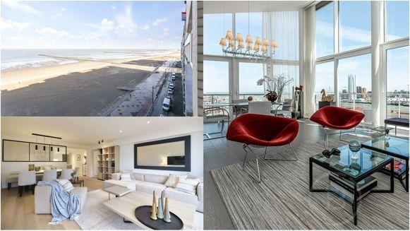 Links een appartement in Knokke-Heist en rechts een penthouse in Oostende.