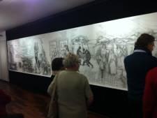 Expositie Ton Jansen in Uden geopend, tekening van 10 x 1,5 meter maakt indruk