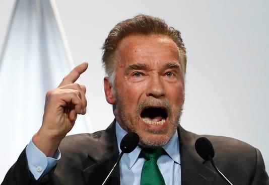 Arnold Schwarzenegger tijdens zijn speech in Katowice