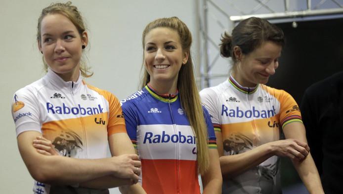 Anna van der Breggen, Pauline Ferrand Prevot en Marianne Vos (vlnr).