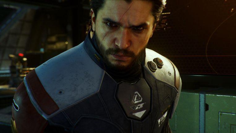 Kit Harington als slechterik in 'Call of Duty: Infinite Warfare', de recentste aflevering uit de schietspellenreeks. De verkoop daarvan gaat al enkele jaren achteruit. Beeld Activision