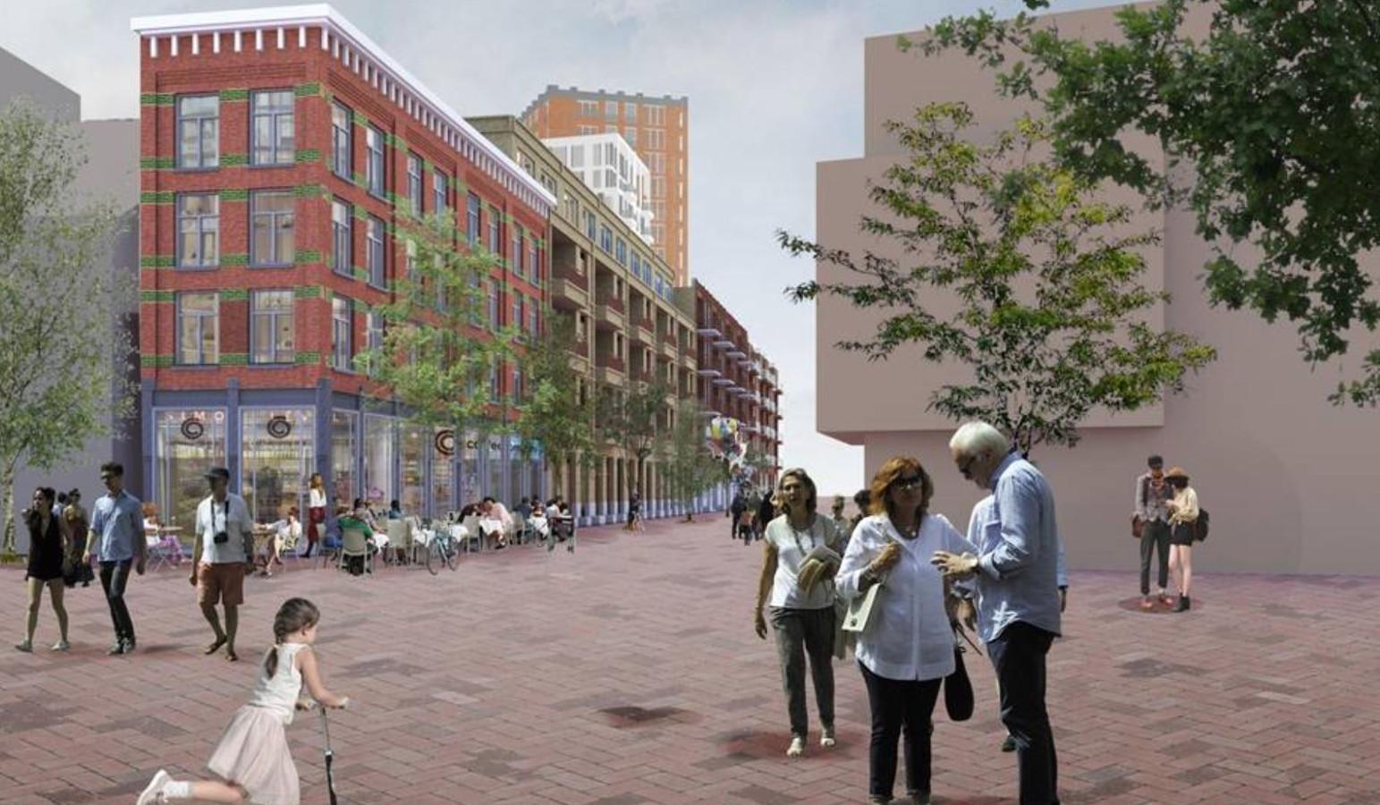 Zo gaat het Roselaarplein met de 'nieuwe V&D' er in Roosendaal uitzien.