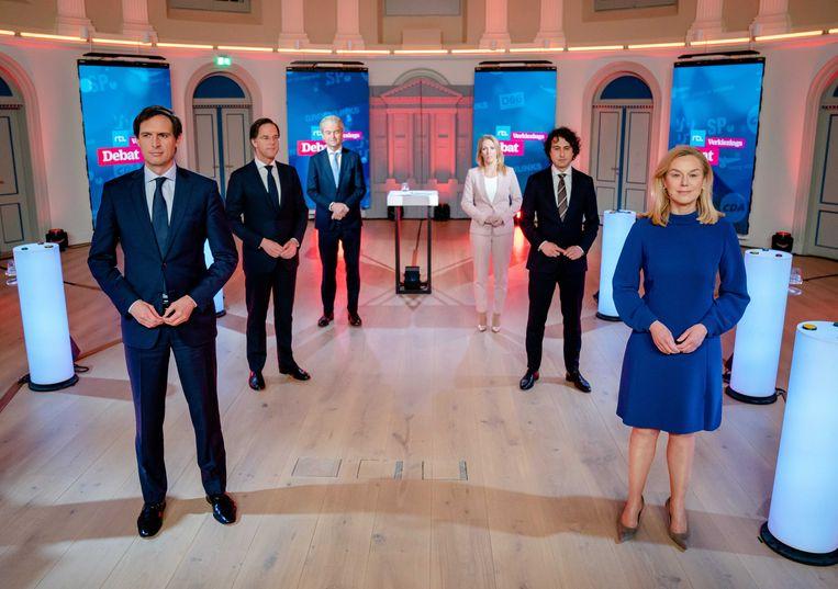 De lijsttrekkers voorafgaand aan het RTL Verkiezingsdebat in Felix Meritis in Amsterdam. Beeld ANP, Bart Maat