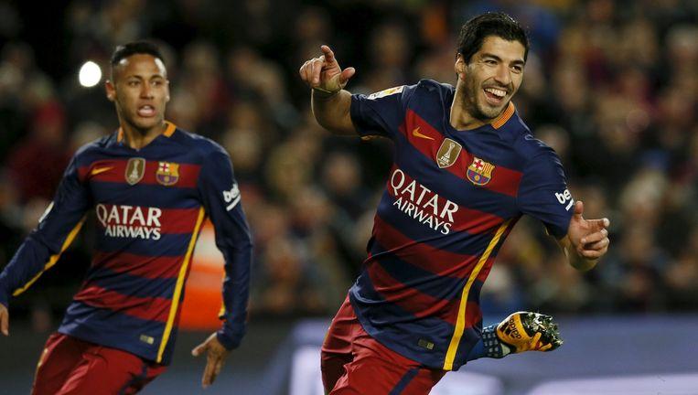 Luis Suarez juicht na een doelpunt tegen Celta Vigo. Beeld reuters