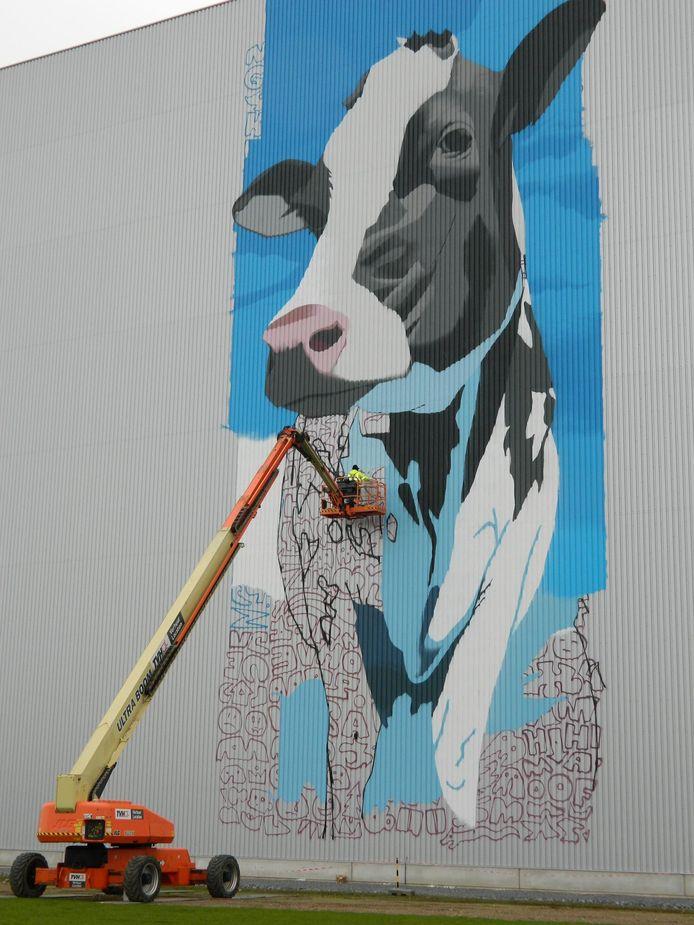 De kunstenaar aan het werk aan de muurschildering.