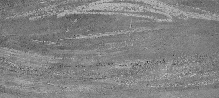 Een infrarode scan van het schilderij toont de inscriptie in de linkerbovenhoek.