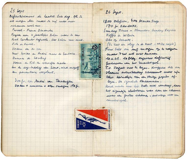 Dagboek van Hugo Claus (september 1960. Te lezen in expo Letterenhuis Antwerpen. Beeld rv