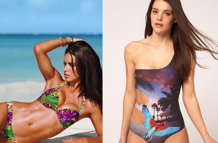 Model Adriana Lima in een bikini met drukke print van Victoria's Secret en een sexy asymmetrisch badpak van Asos.com.