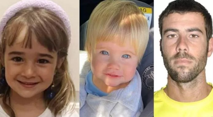 Olivia, 6 ans, sa soeur Anna, 1 an et leur père, Tomas Gimeno.