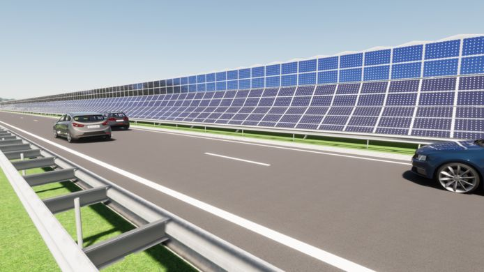 Er is een plan voor de aanleg van een circa 6 kilometer lang en 6,5 meter hoog duurzaamheidsscherm aan de noordkant van de  toekomstige autoweg tussen Nijverdal en Wierden.