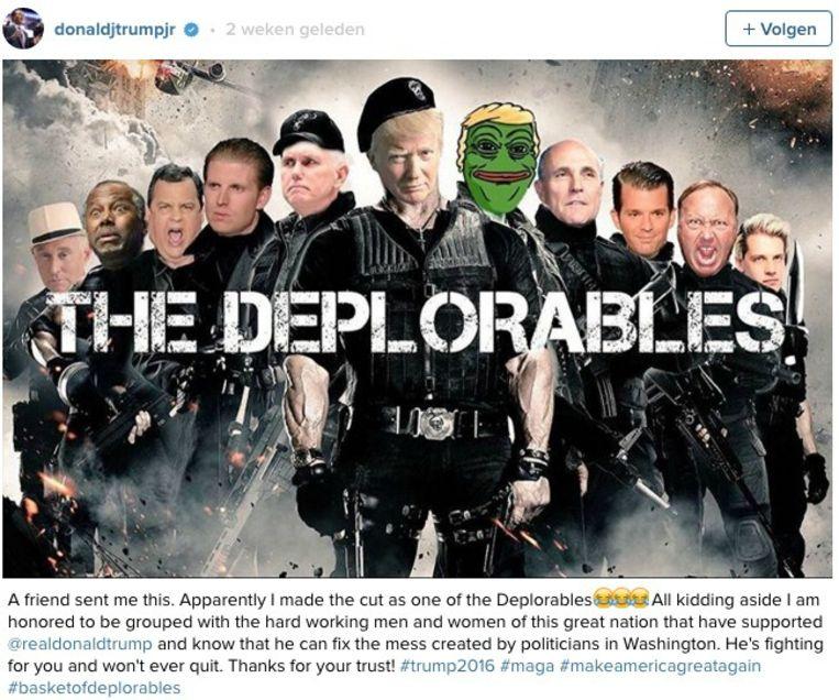 Dit beeld van de Deplorables - met Pepe The Frog met Trump-pruik - postte Donald Trump junior onlangs. Beeld Instagram