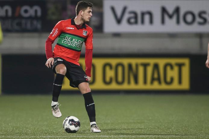 Kevin Jansen in actie tegen RKC, in wat zijn laatste wedstrijd voor NEC lijkt te zijn.