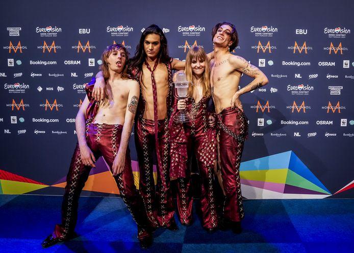 Winnaar Maneskin uit Italie tijdens persconferentie na afloop van de finale van het Eurovisiesongfestival.