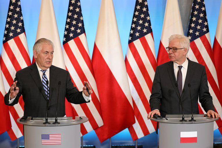De Amerikaanse minister van Buitenlandse Zaken Rex Tillerson en de Poolse buitenlandminister Jacek Czaputowicz. Beeld REUTERS