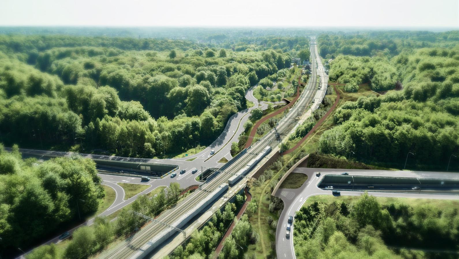 Het ecorecreaduct zal aan de bestaande spoorwegbrug gebouwd worden.