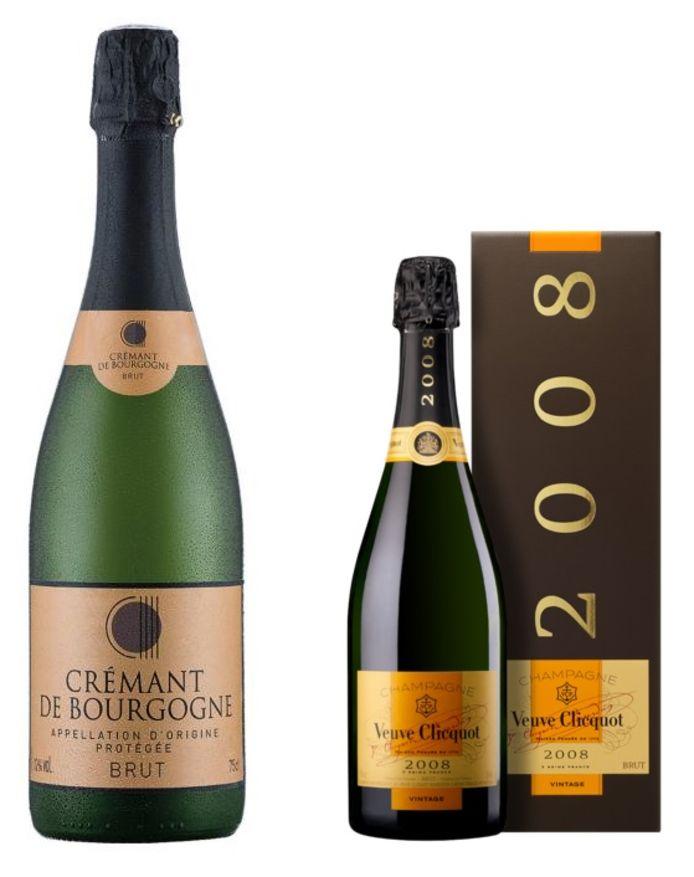 De  Crémant de Bourgogne Blanc NV van Lidl (l) naast de Veuve Clicquot 2008 Vintage champagne (r)