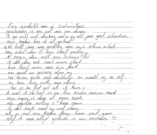 Het winnende gedicht van de Arnhemse gedetineerde T.U.