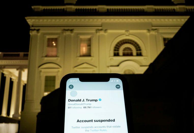 De Twitteraccount van Donald Trump is opgeheven door het bedrijf. Beeld REUTERS