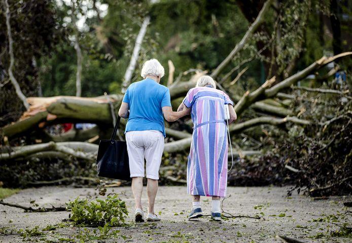 Twee vrouwen lopen tussen de omgewaaide bomen na een windhoos in Leersum.