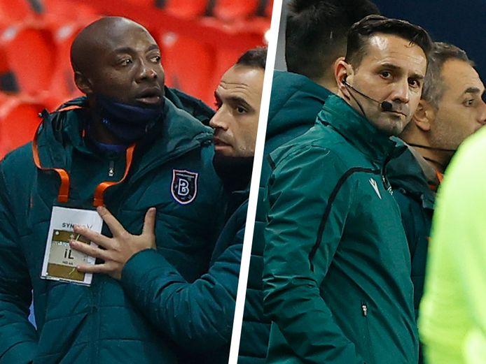 Webo (links) wordt tot kalmte aangemaand na de discussie met vierde ref Coltescu (rechts), die hem racistisch zou hebben bejegend.
