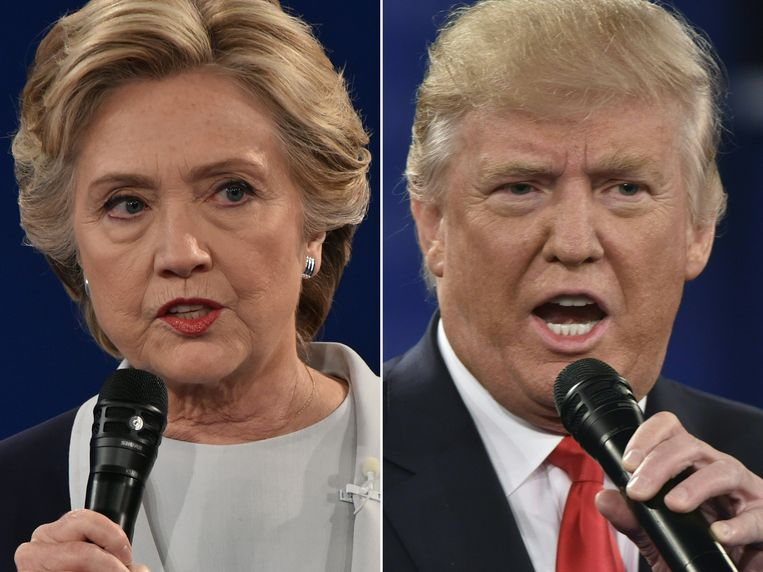 De Amerikaanse presidentskandidaten Hillary Clinton en Donald Trump. Beeld AFP