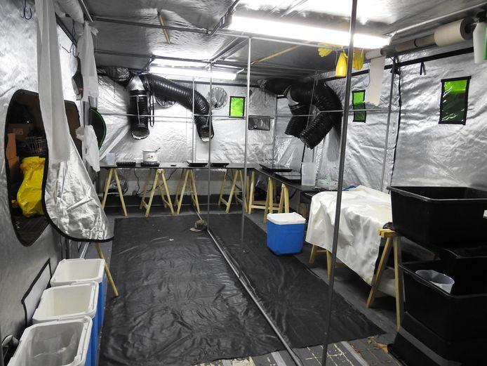 Een drugslab in het Belgische Wuustwezel, net over de grens met Breda, dat vorig jaar ontmanteld werd.
