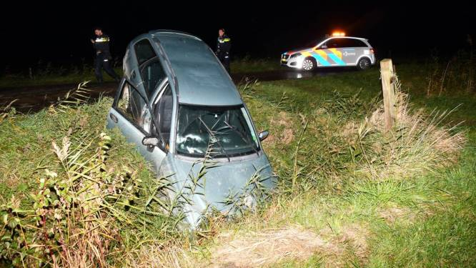 Auto in de sloot bij Meliskerke, bestuurder nergens te bekennen