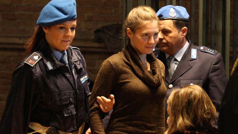 De moordzaak trok in Italië massale mediabelangstelling. Het land was onder de indruk van de 'engelachtige' verschijning van hoofdverdachte Amanda Knox. Foto EPA Beeld