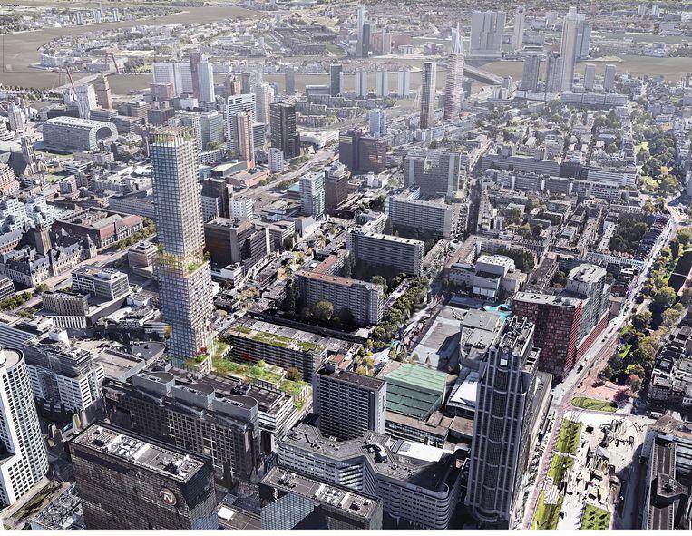 Eerste impressie van de nieuw te bouwen Lumièretoren (links in beeld) bij Lijnbaan en Kruiskade in Rotterdam. Beeld Kaan Architecten