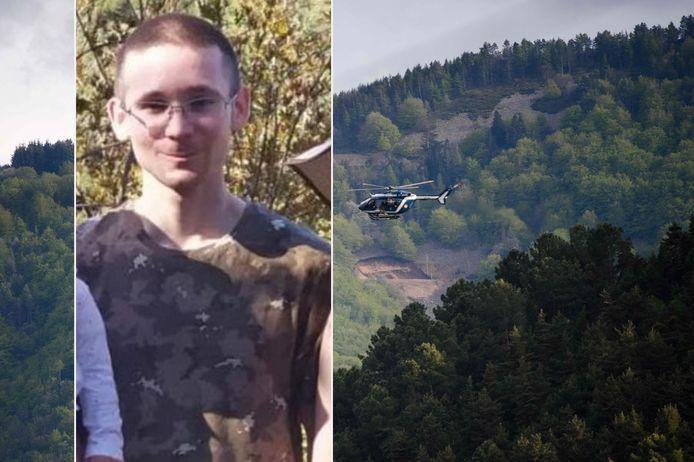 De foto van Valentine Marcone die deze week door de Franse politie werd verspreid (inzetje). Helikopters zochten dag en nacht in de Cevennen naar de fervent jager.