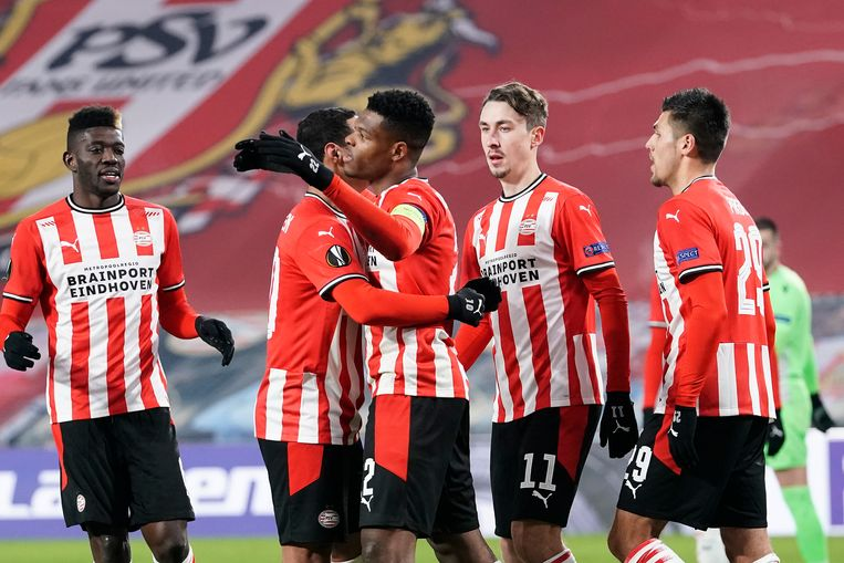 PSV eindigde donderdagavond als groepswinaar in de Europa League, wat een geplaatste status bij de loting in Nyon opleverde.  Beeld BSR Agency