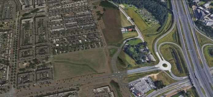 Kaartje van de nieuwe locatie voor het centrale politiecomplex Oost-Brabant aan de Sliffertsestraat/Meerhovendreef in Eindhoven.