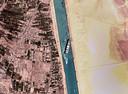 Vue satellite de l'Ever Given bloqué dans le canal de Suez.