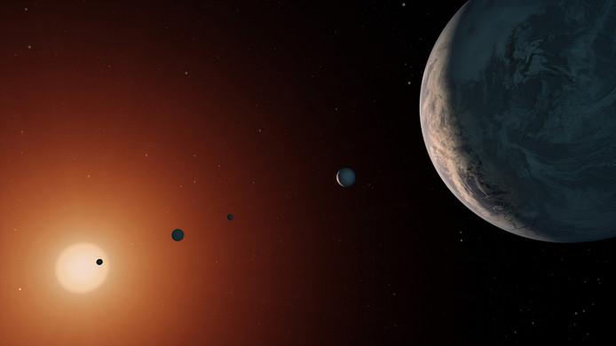 Illustratie van de ster TRAPPIST-1.