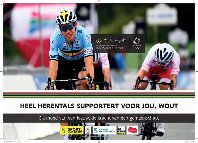 De affiche waarmee de stad Herentals wielrenner Wout Van Aert wil steunen op de Olympische Spelen
