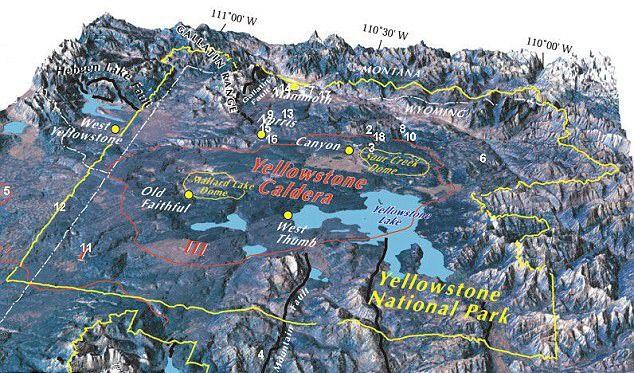 Het Yellowstone caldera (de cirkel in het rood) in Wyoming vormt 's werelds grootste supervulkaan.