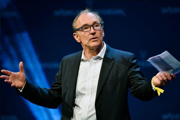 Tim Berners-Lee eerder dit jaar tijdens het World Web Forum in Zurich. Beeld EPA