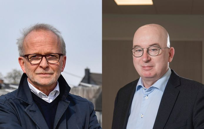 De Buggenhoutse burgemeester Pierre Claeys  (links) en de Dendermondse burgemeester  Piet Buyse (rechts) zijn allebei van CD&V-signatuur. Brengen ze hun gemeenten straks ook samen?