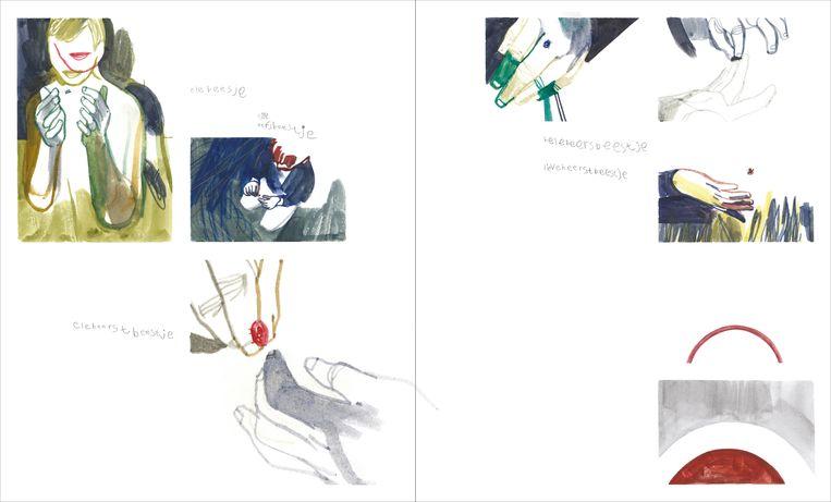 Ephameron visualiseerde flarden uit het moederleven via beelden in aquarel, losse zinnen en hier en daar kinderschrift en -tekeningen.  Beeld Ephameron
