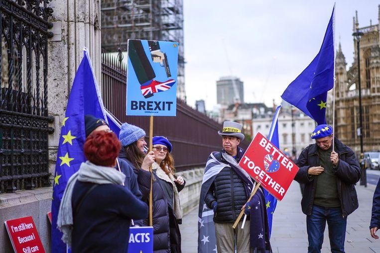 Demonstranten konden de Britse politiek niet overtuigen: brexit ging door. Londen merkt nu de gevolgen. Beeld Getty Images