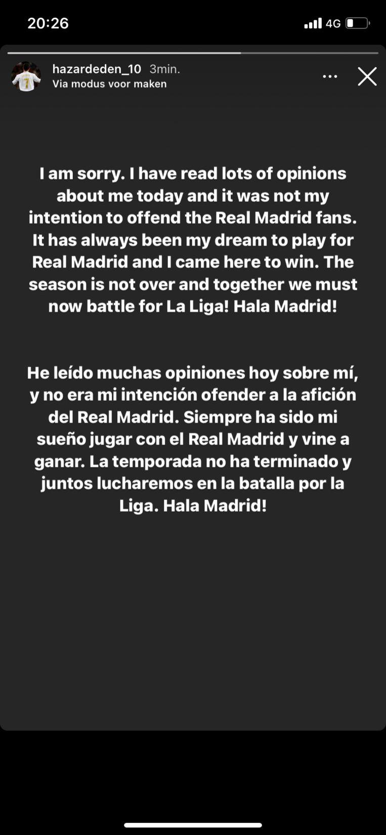 Hazard biedt excuses aan. Beeld Instagram