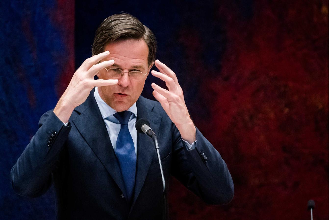 Demissionair premier Mark Rutte tijdens een debat over de toeslagenaffaire.