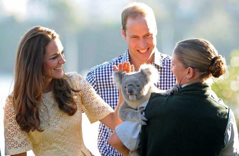Prins William en zijn vrouw Kate in het dierenpark Toronga in Sydney op 20 april 2014. Beeld EPA