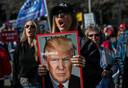Trump-supporters bij een demonstratie op 6 november in Detroit.