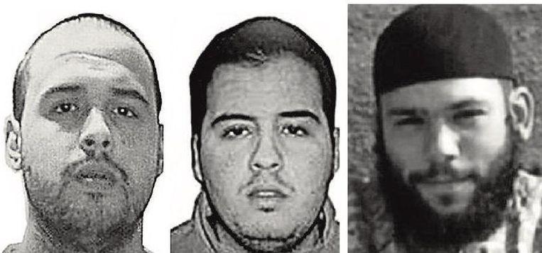 Vlnr.: de Brusselse broers Khalid en Ibrahim El Bakraoui en de Zweed Osama Krayem.  Beeld © RV