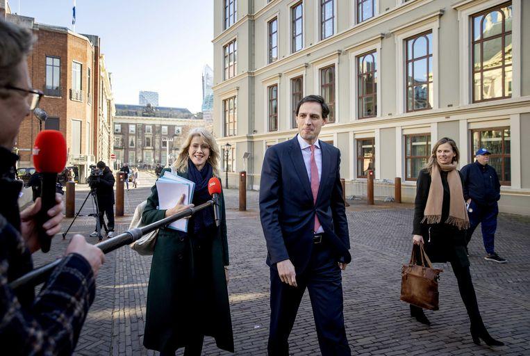 Wopke Hoekstra, demissionair minister van Financiën en Mona Keijzer. Beeld ANP