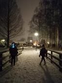 Gauw naar buiten, genieten van de sneeuw. Zo vaak gebeurt dat niet meer. Avondwandeling met de kinderen van de familie Schimmel in Leusden.