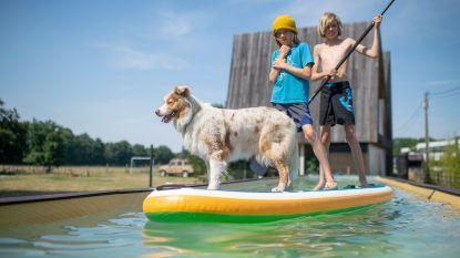 """Kunstenaar bouwt samen met zonen artistiek zwembad in eigen tuin: """"Diep genoeg om te duiken, laag genoeg om te kunnen staan"""""""