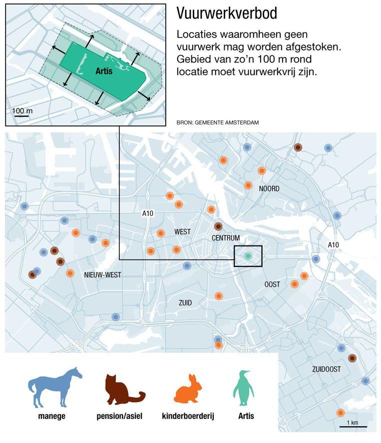 Rond 38 locaties in Amsterdam mag dit jaar geen vuurwerk worden afgestoken. Beeld Jorris Verboon