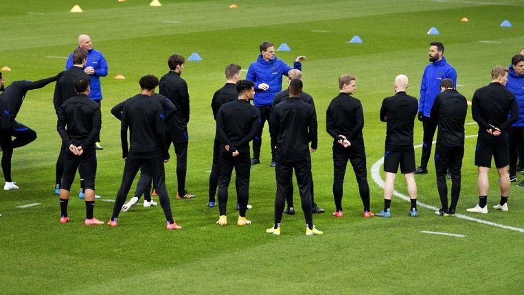 Het Nederlands elftal tijdens de training.  Beeld ANP